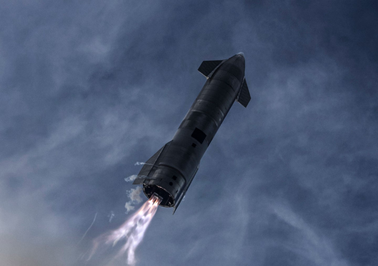 Starship SN10 rockets during a SpaceX test flight