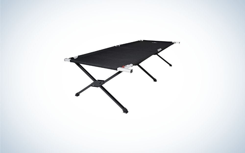 A portable layer with a dark piece layer with four outer support legs.