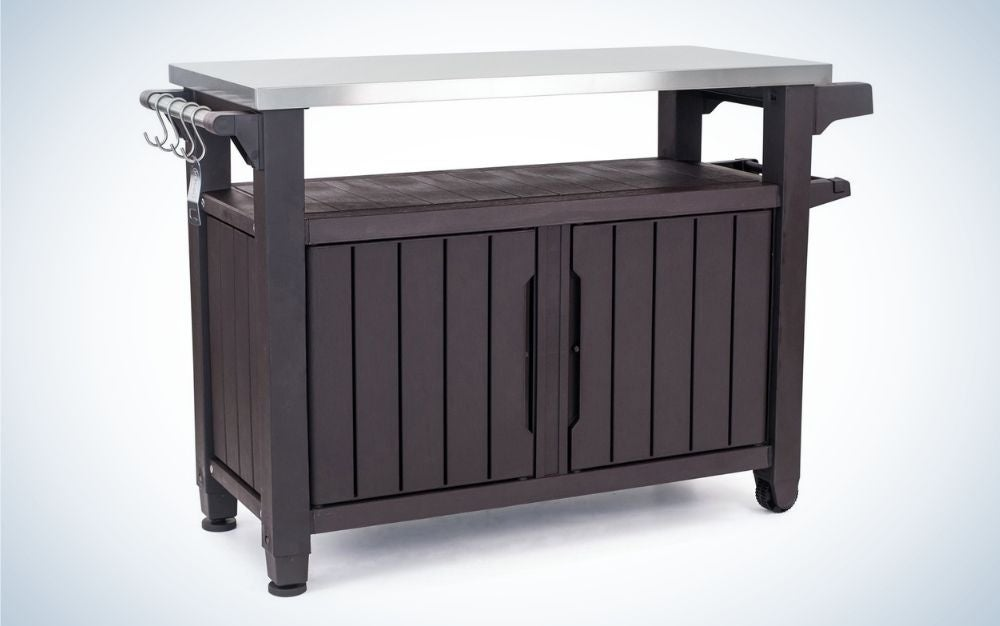 The Keter Unity XL Portable Outdoor Table makes serving guests easy.