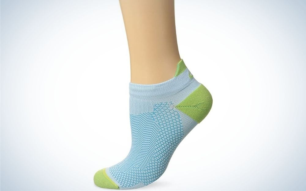 Turquoise and pistachio light weighted unisex running sock