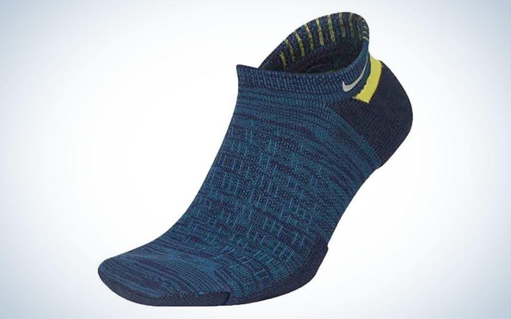 Blackened blue, sweat-wicking running socks