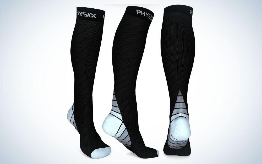 Black and gray running socks for men and women
