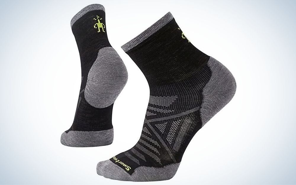 Black and gray wool men running socks for cold weather
