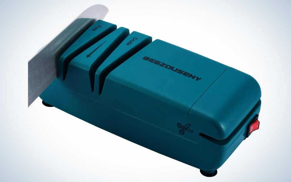 a teal kitchen knife sharpener, one of the prime day deals