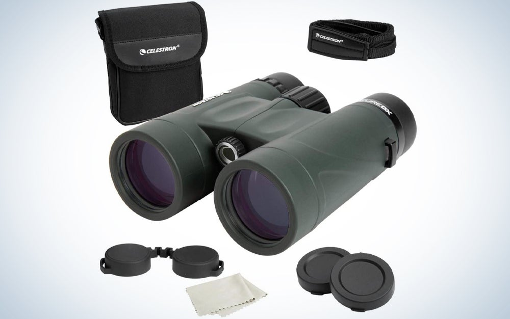 green binoculars and other outdoor gear and accessories
