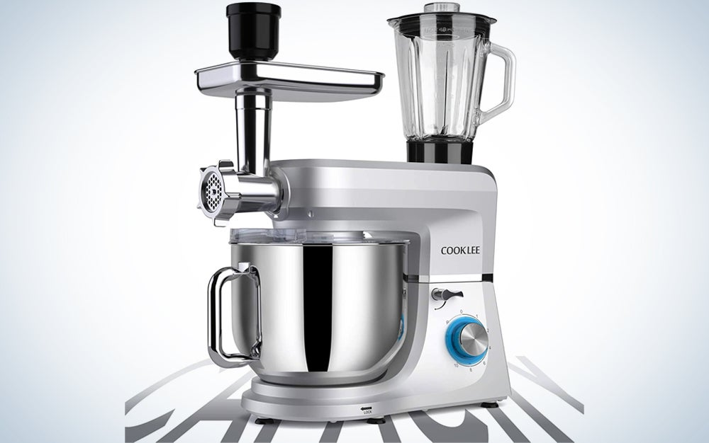 a stand mixer with attachments for multiple kitchen appliances in one
