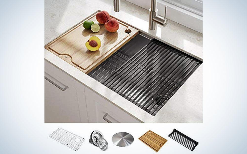 a kitchen sink with prep station accessories, one of the best kitchen appliances for Amazon prime day 2021