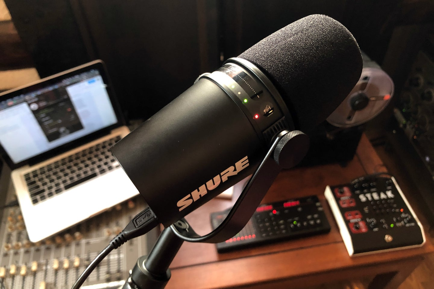 Shure MV7 podcasting microphone connected via USB
