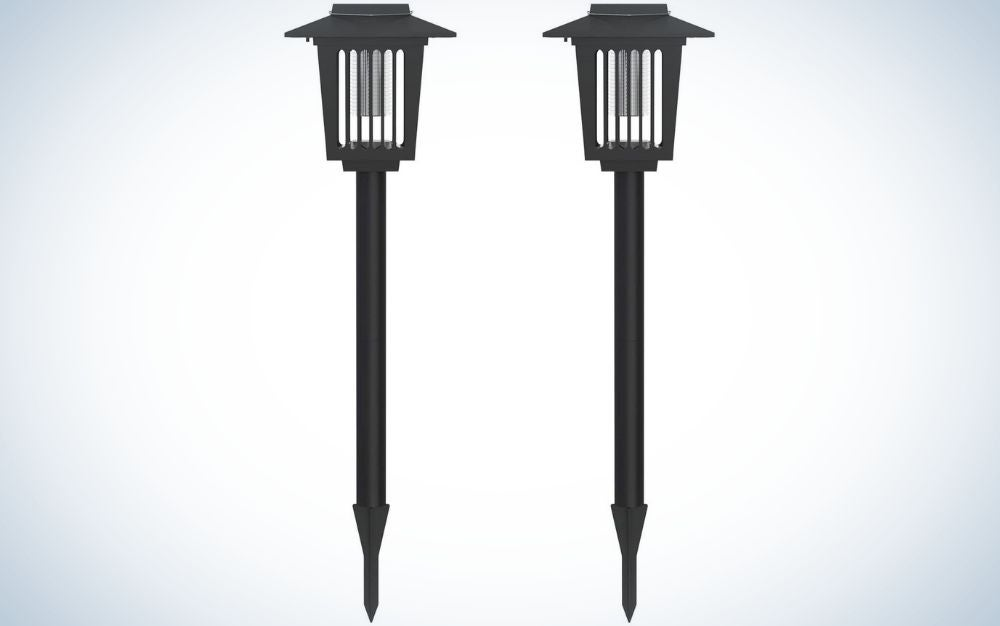 Two torches with sharp pointed and thin tails and above them a translucent lamp.