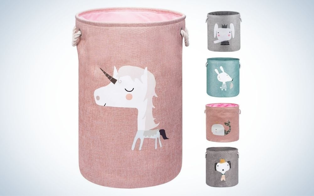 Pink unicorn laundry basket