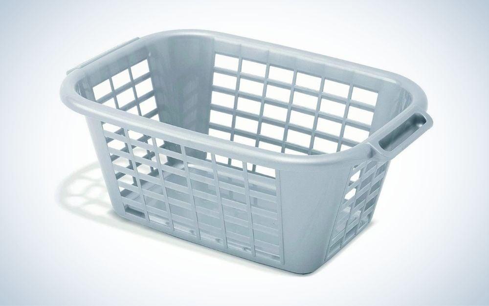 Gray, plastic laundry basket