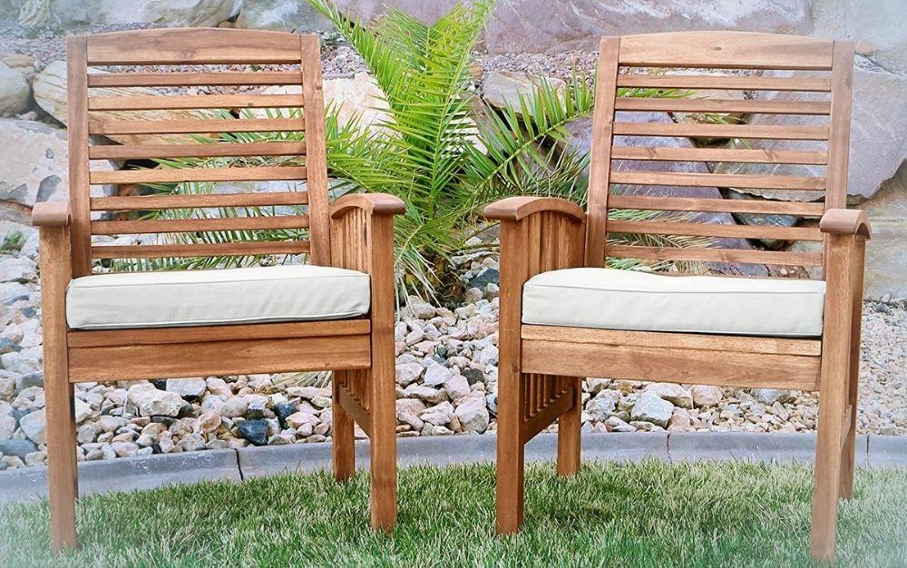 2 piece brown Acacia wood patio chairs