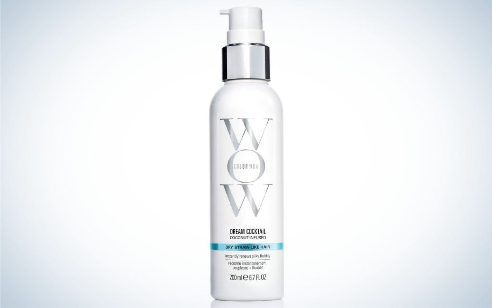 Bottle of coconut leave-in conditioner for dry hair