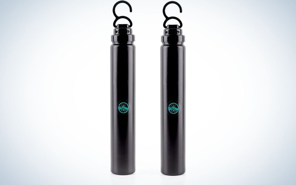 Two mosquito killers which are like thin cylinders and are black in color with an arched part on their upper part.