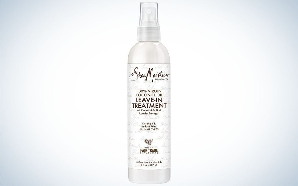 Bottle of coconut scent leave-in conditioner