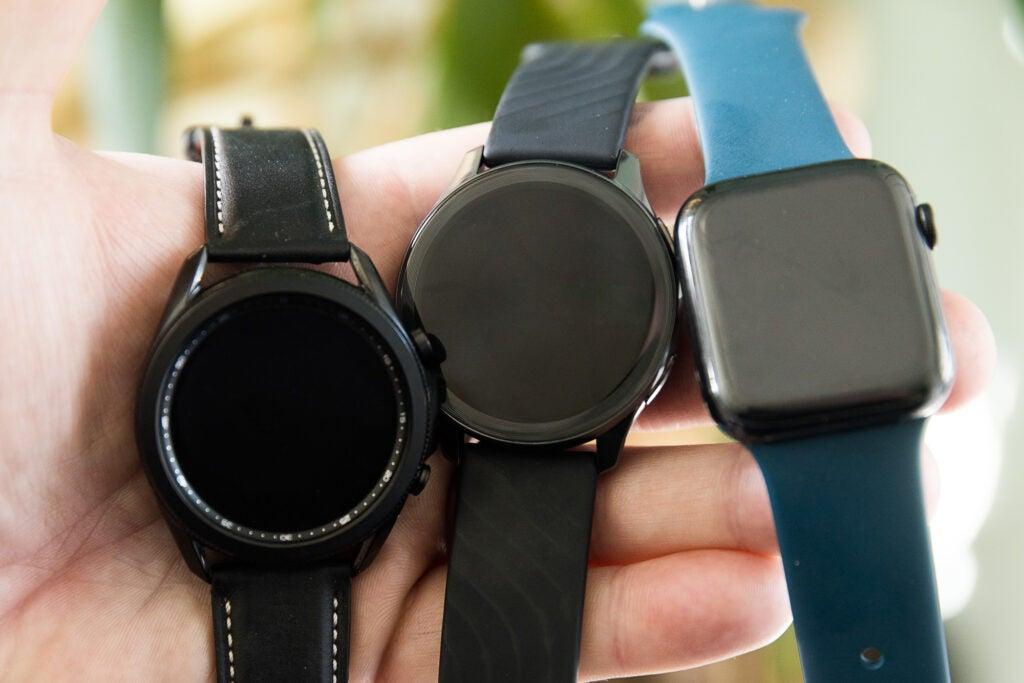 Smart watch size comparison Samsung Galaxy Watch 3, OnePlus Watch, and Apple Watch