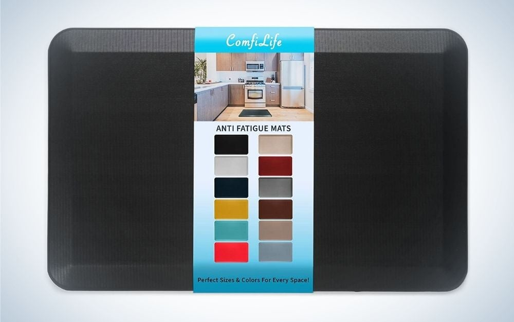 Black, solid anti fatigue floor mat