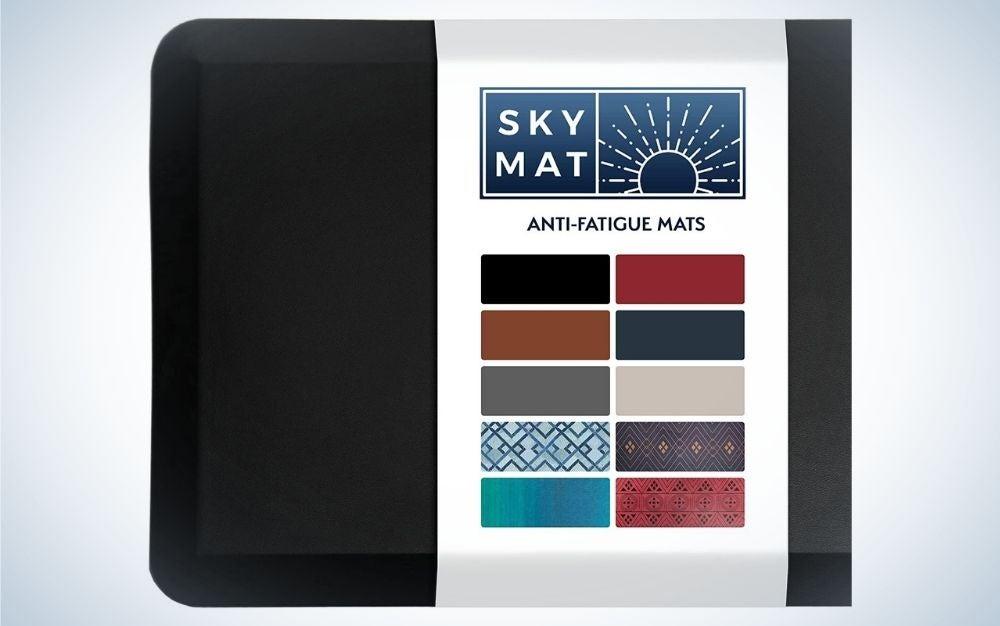 Black, cushioned anti fatigue mat