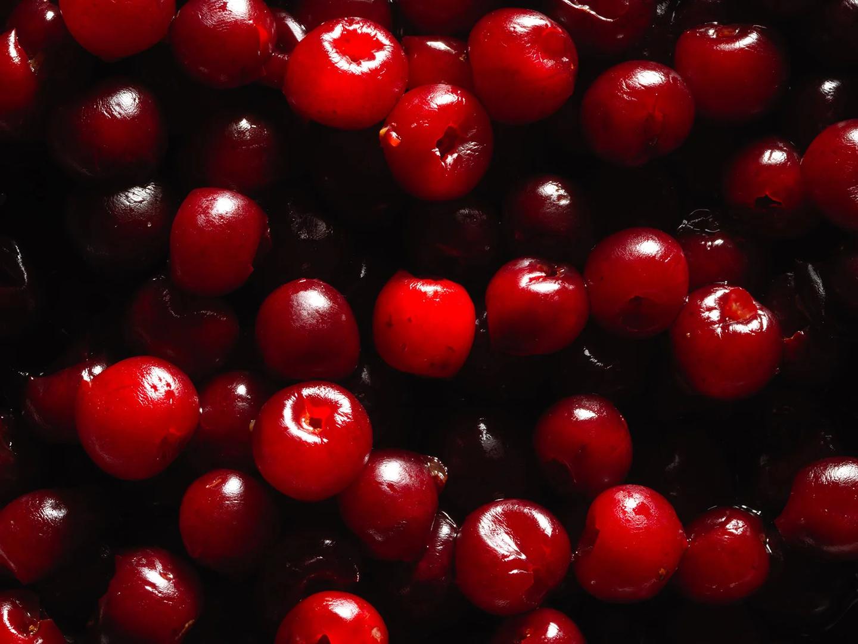 Closeup of maraschino cherries