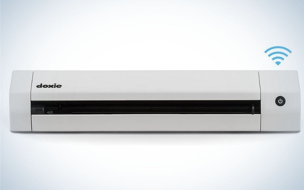 A large white and tall rectangular scanner with a narrow black space in the middle, as well as the brand name from above.