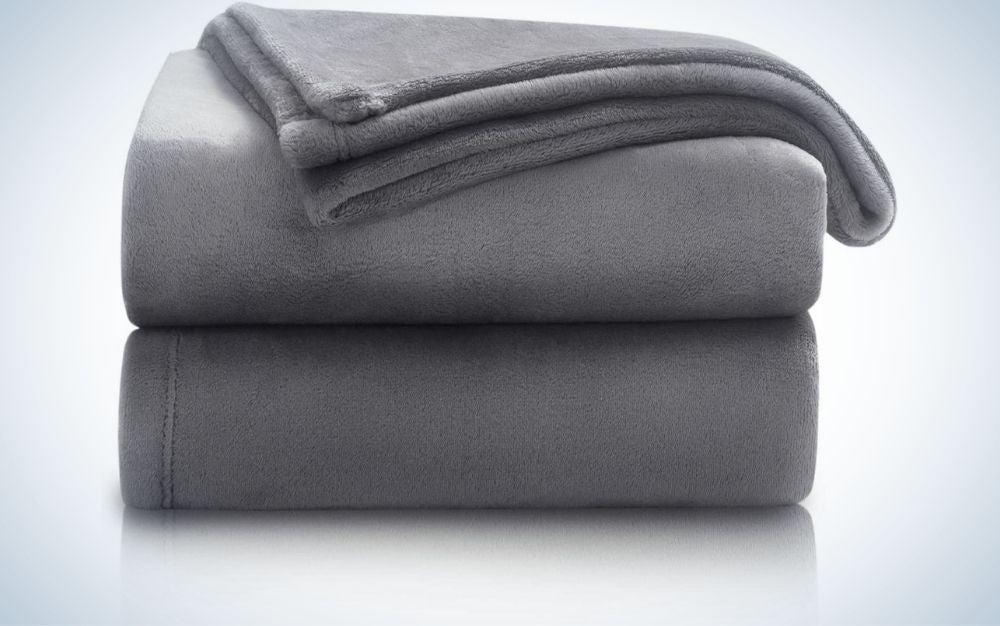 Lightweight, grey throw blanket
