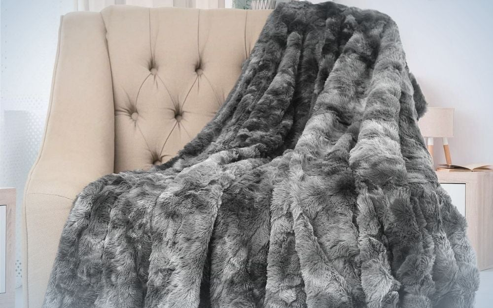 Thick, gray, fur throw blanket