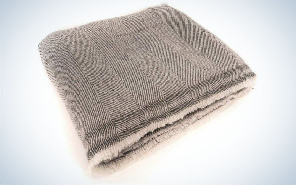 Thin, natural gray, cashmere wool throw blanket