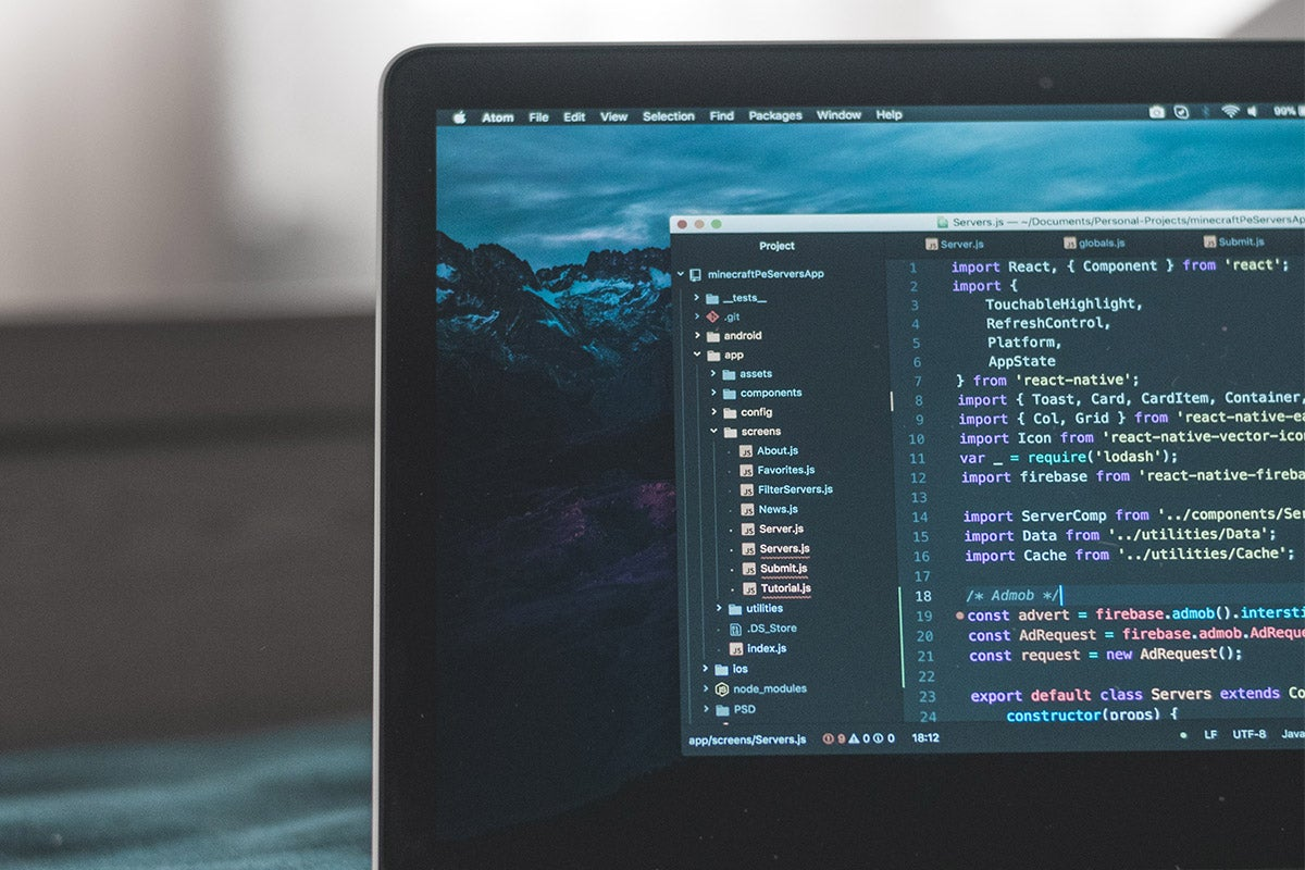 Coding program on laptop