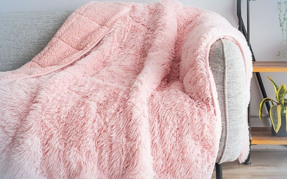 Dual sided pink throw blanket