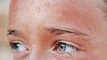 close up of person sweating