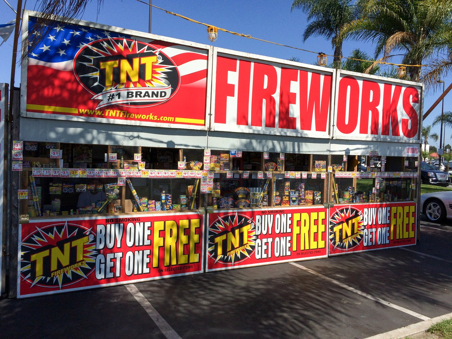 A fireworks stand with buy one get one free signs