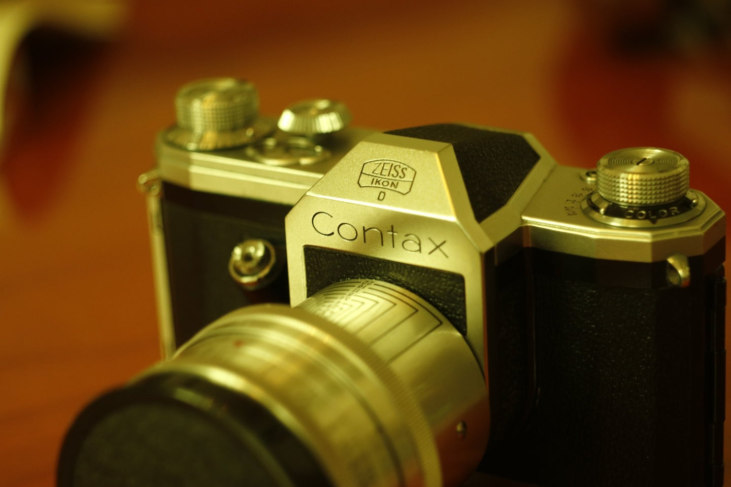 Vintage Contax camera on wooden table