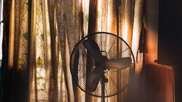 Electrical fan against window