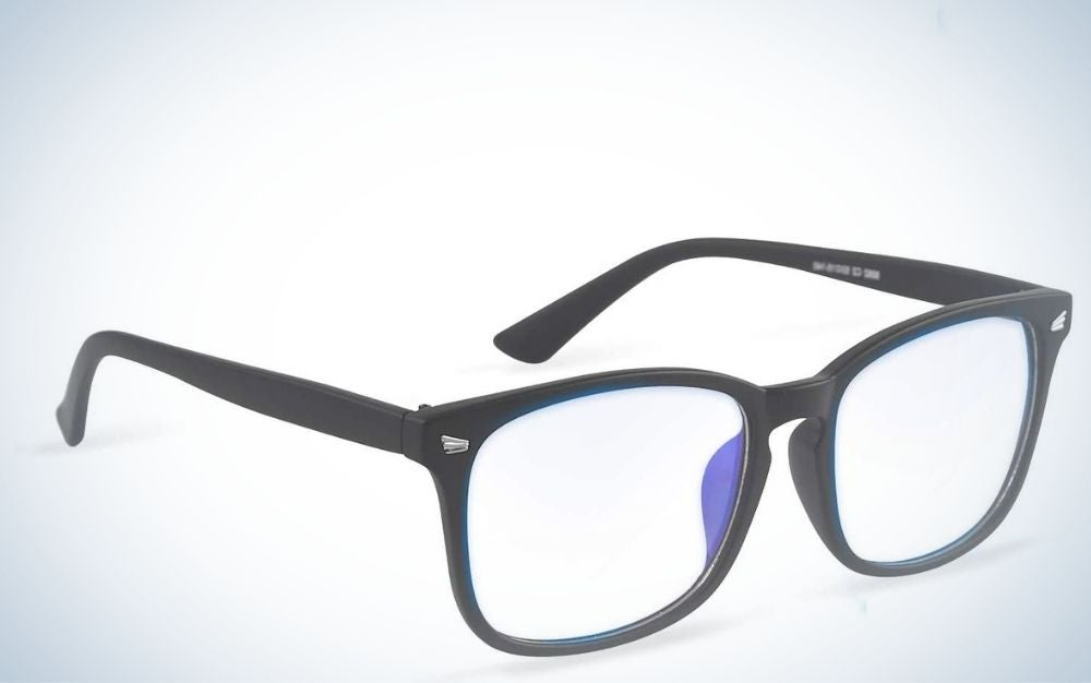 A pair of glasses with a classic black frame and translucent glass.