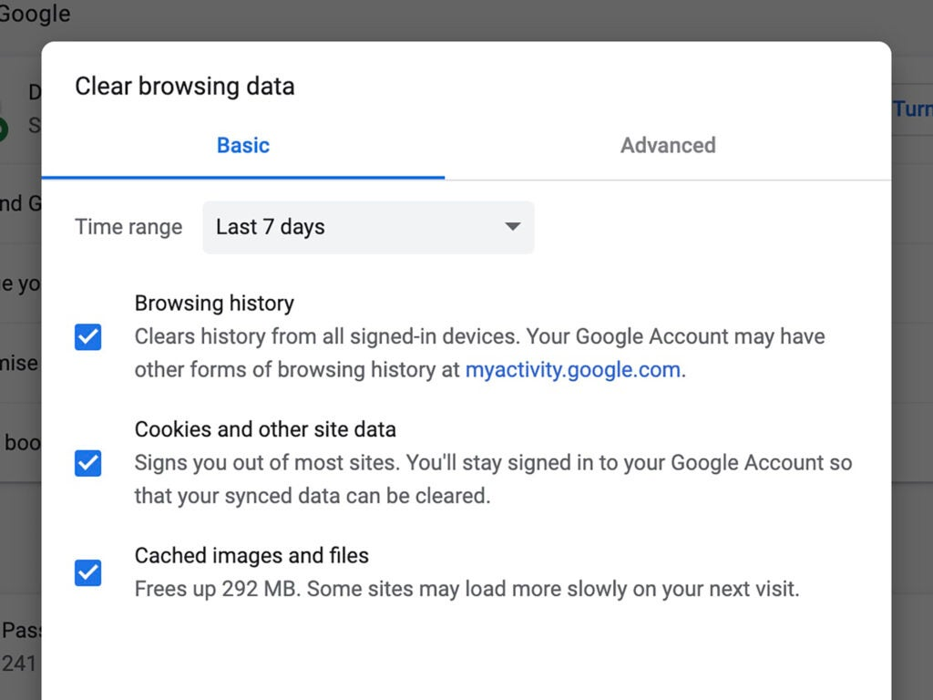 The options for clearing your Google browsing data.