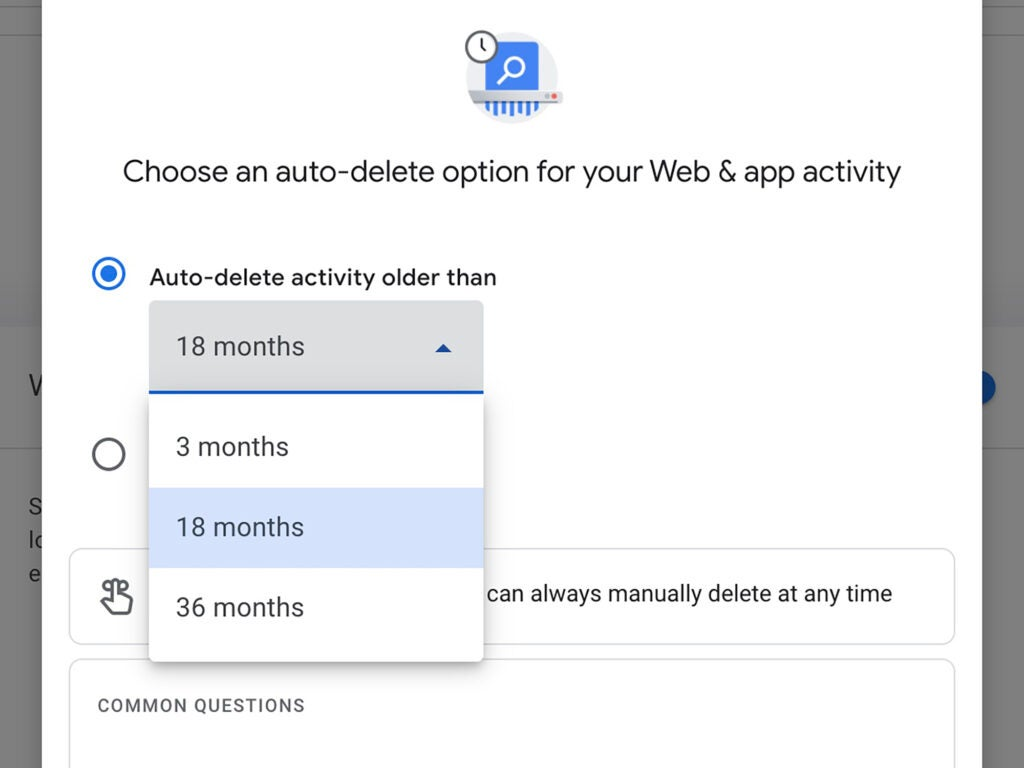 The options to automatically delete your Google search history.