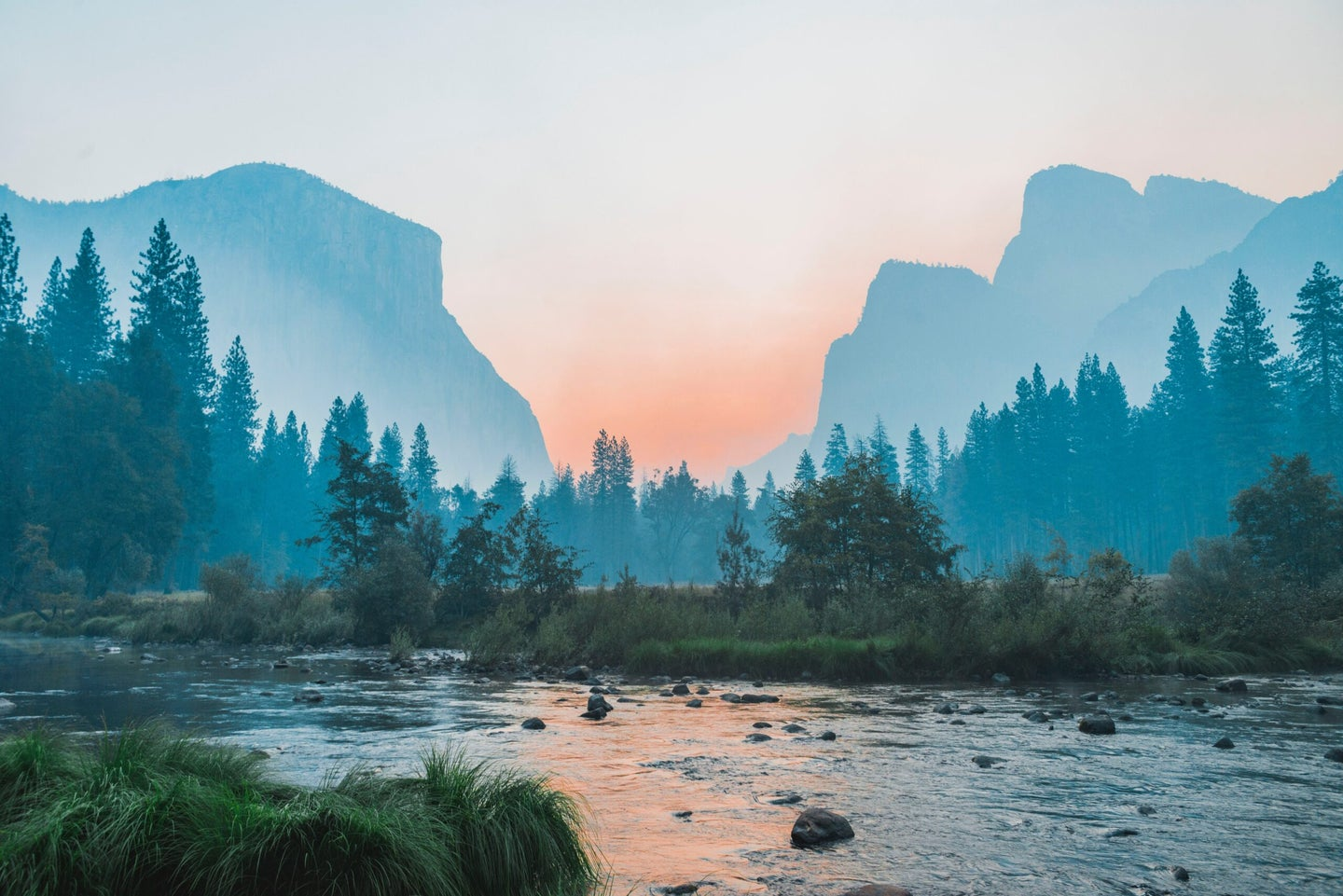 view of yosemite valley from the valley floor