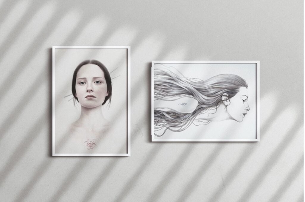 two-photos-of-women-on-wall