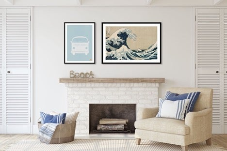 two-framed-photos-over-fireplace