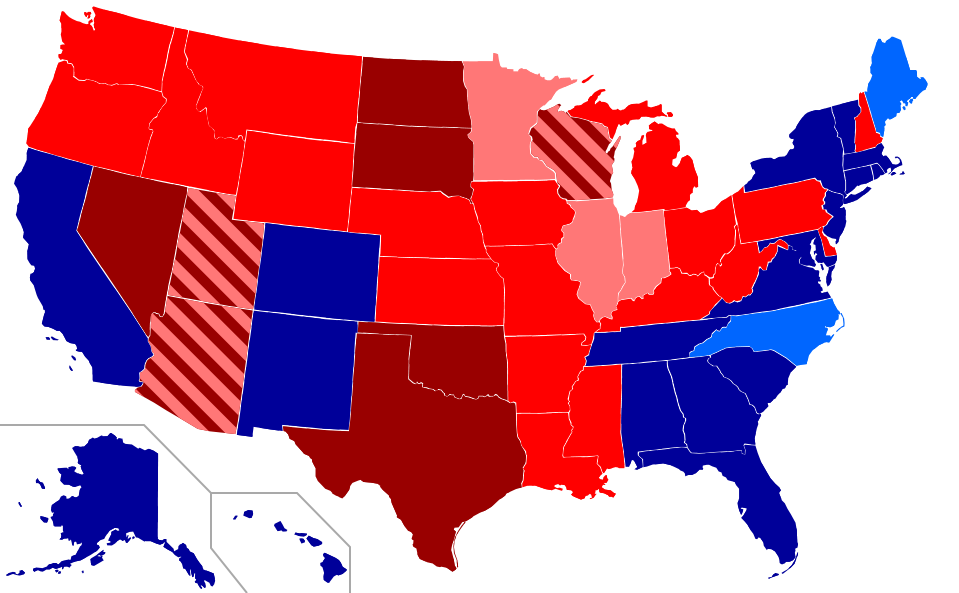 A US map marked by red and blue for first-cousin-marriage legality
