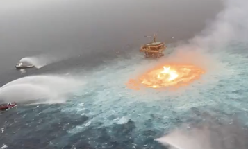 Videos show a surreal 'eye of fire' in the Gulf of Mexico after gas pipeline ruptures at sea