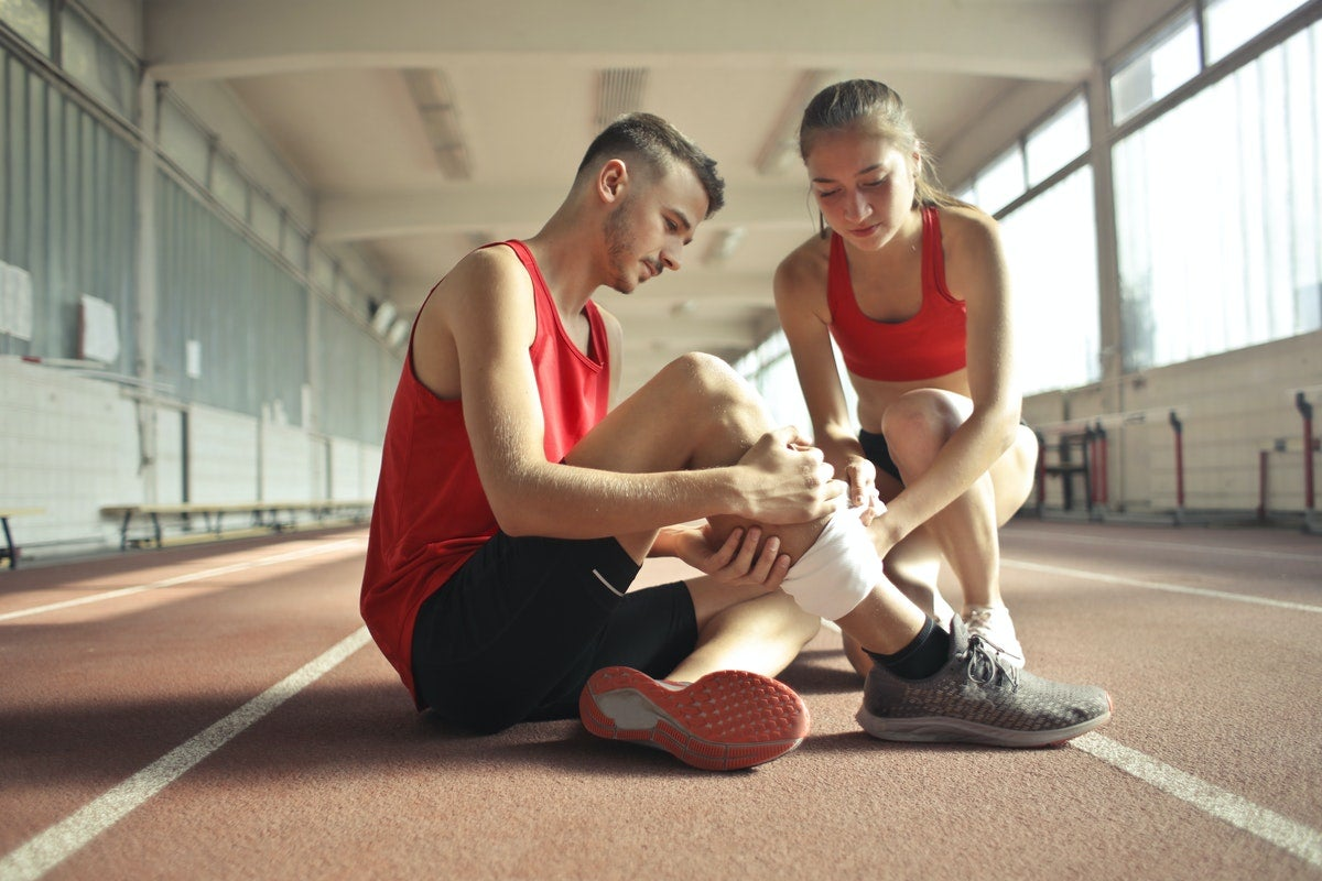 Two athletes on a track
