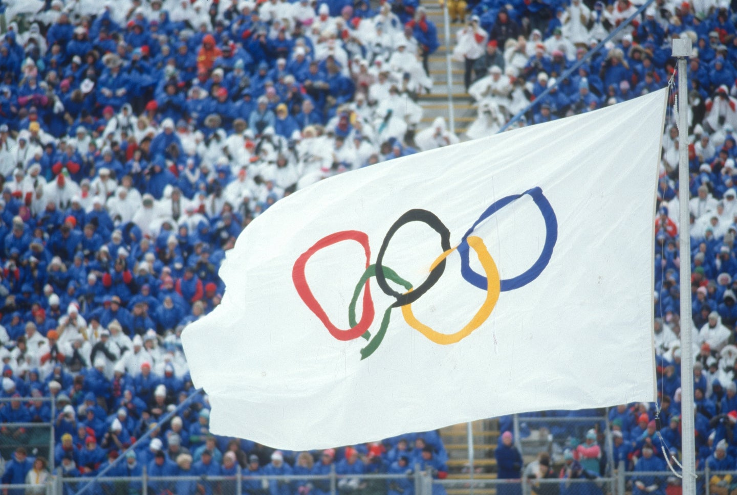 White Olympics five-ring flag flying during the 1988 summer games in Seoul