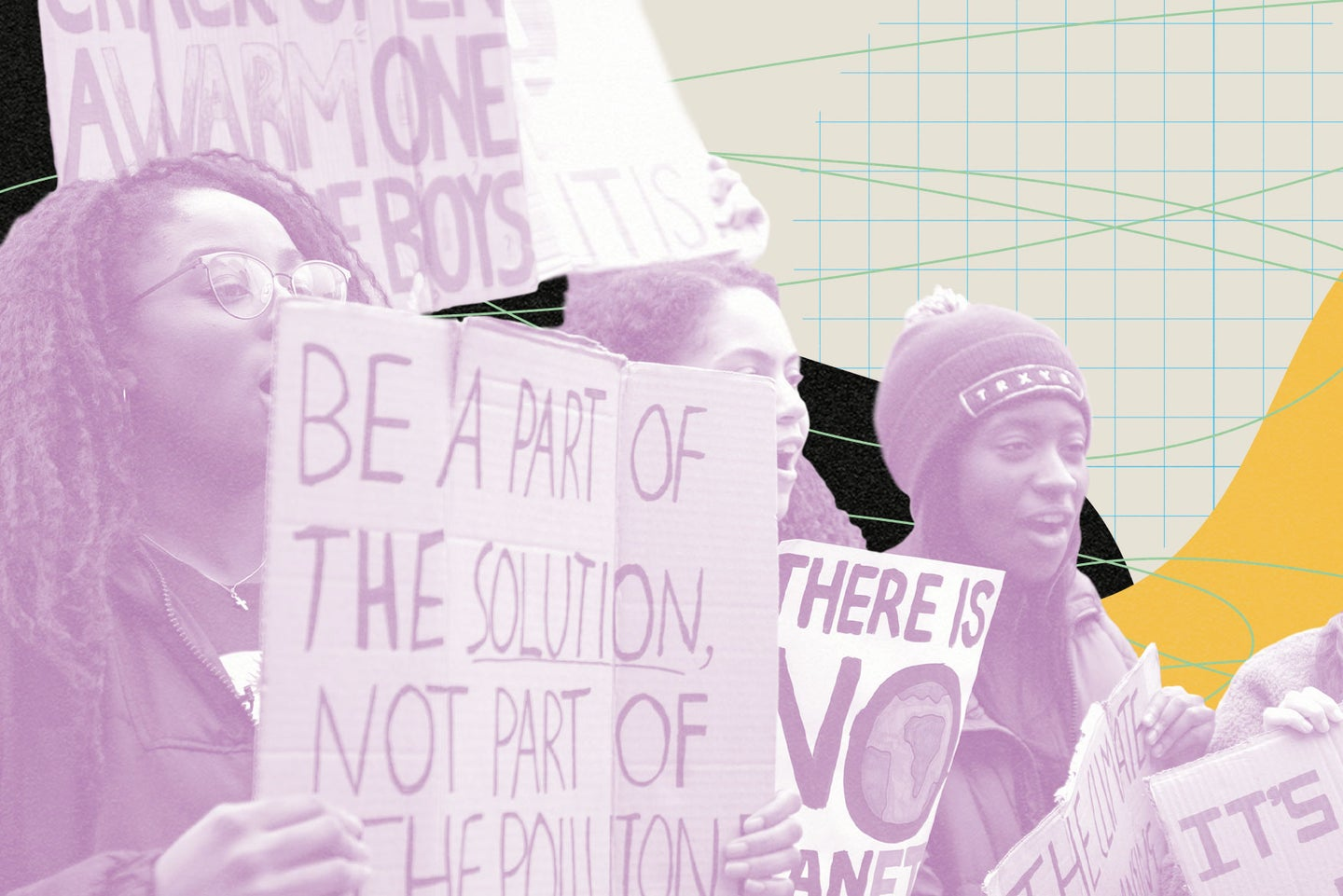Young climate change activists holding signs at a protest with a light purple filter