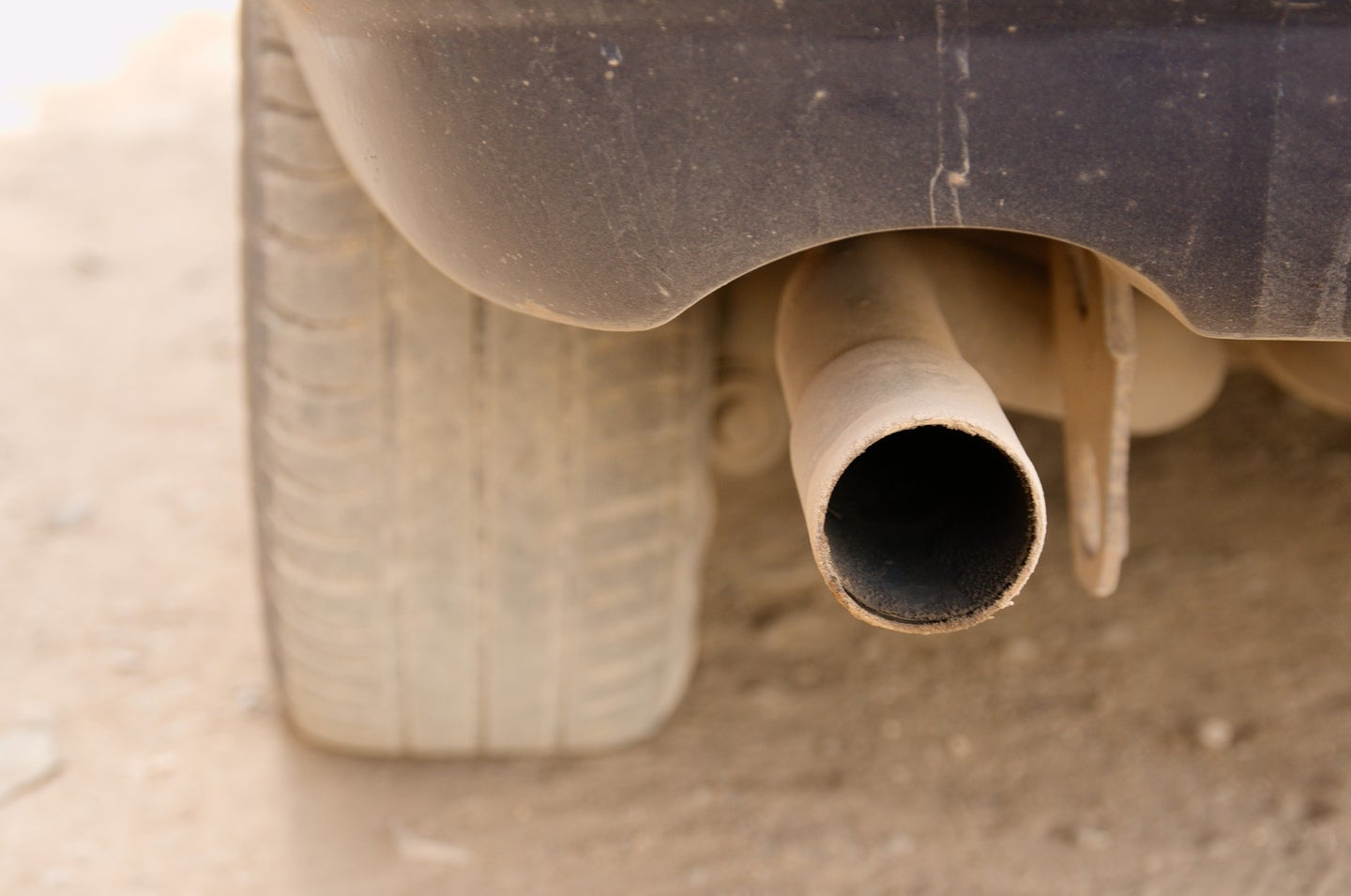 Dirty car tailpipe