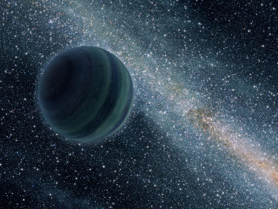 A bluish planet floats in space without a star to orbit