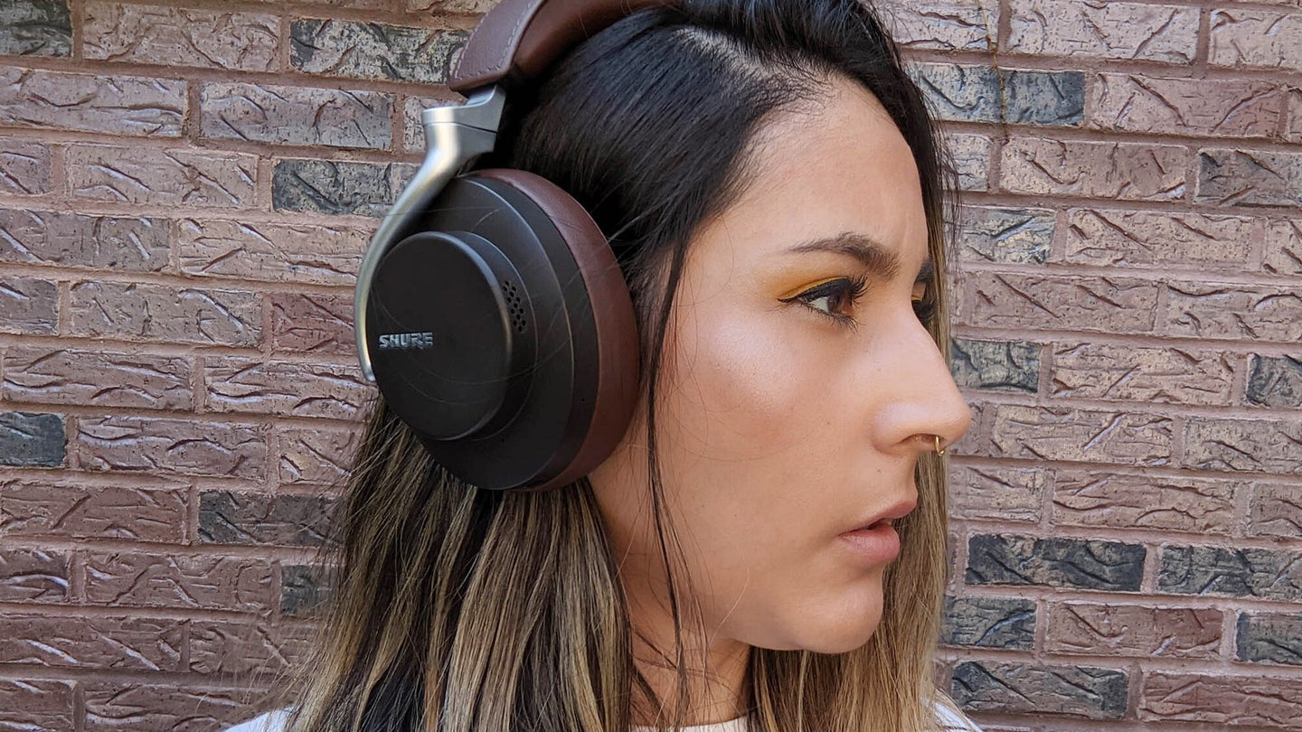 Shure Aonic 50 headphones on a person's head