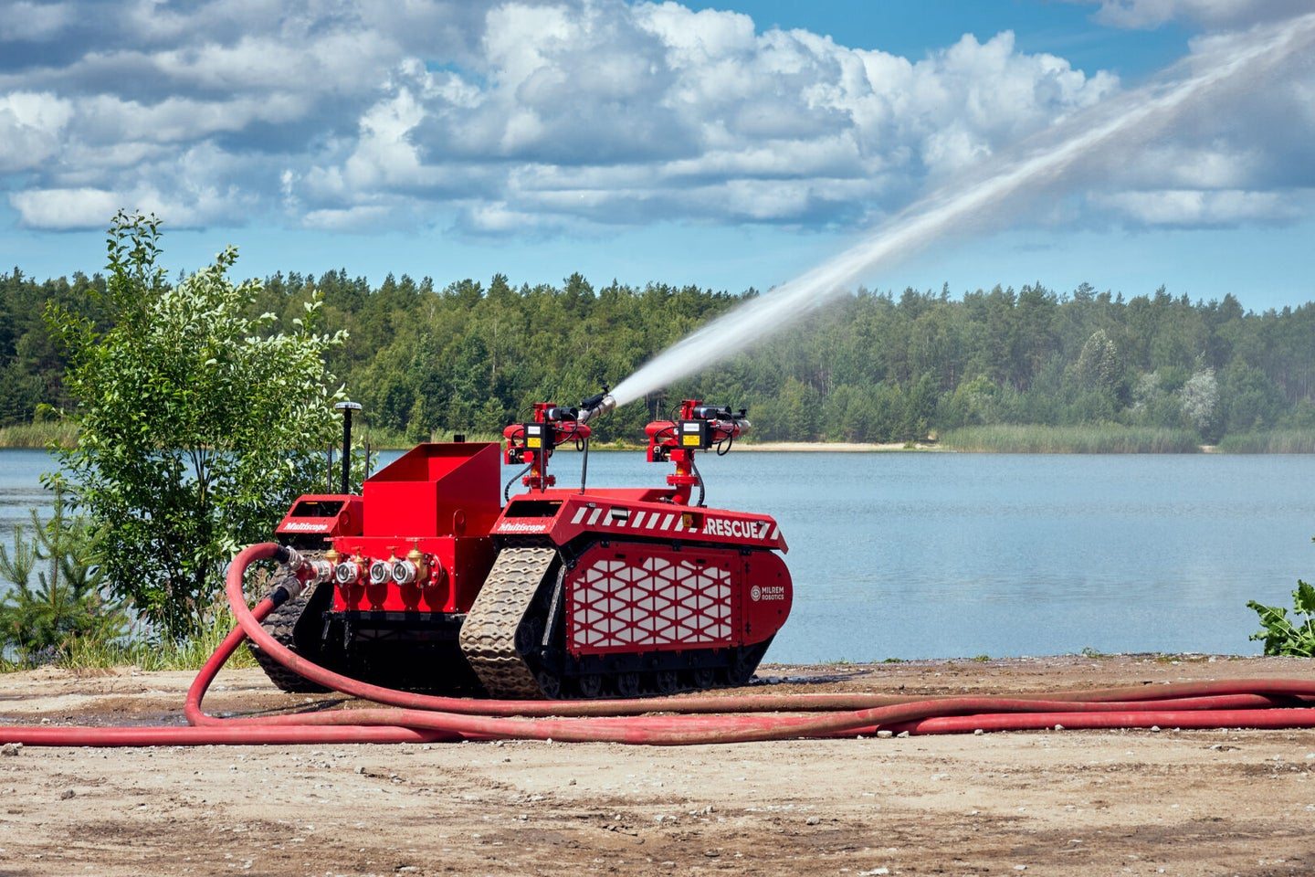 This helpful tank-like robot fights fires, not people