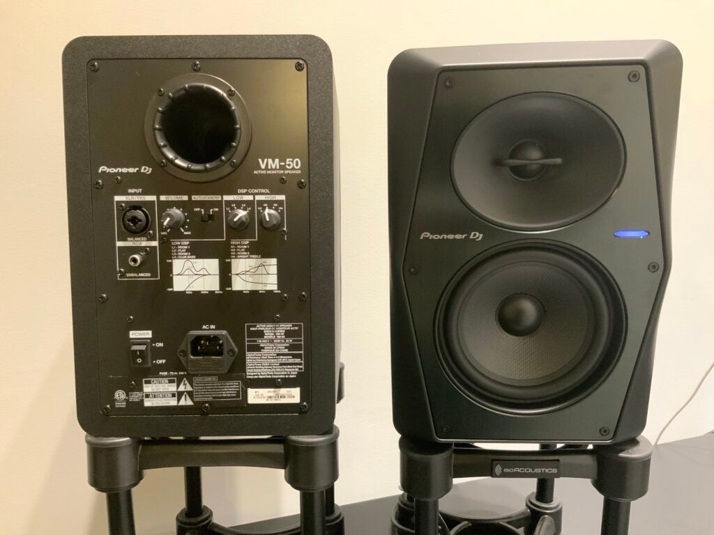 Back of Pioneer VM-50 active monitors