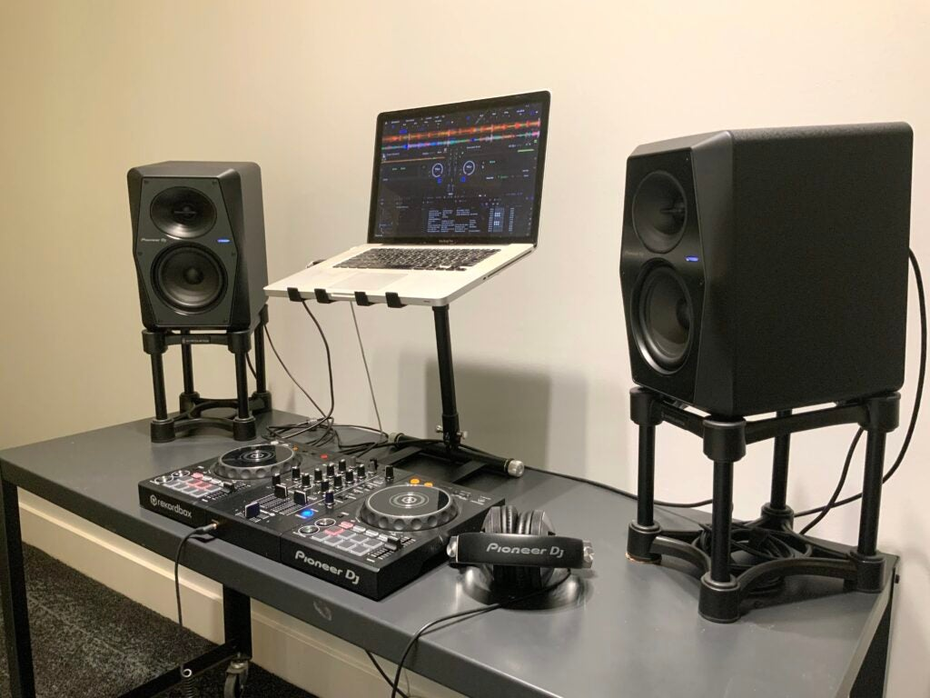 Pioneer VM-50 with laptop in a home recording studio